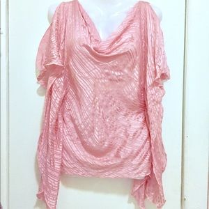100% silk LAUNDRY pink semi sheer top xs ruched